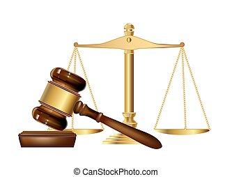 legno, giustizia, scale., vettore, martelletto