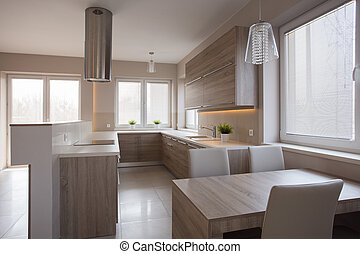 legno, grande, cucina