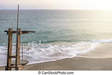 legno, guardia vita, stazione, a, carabeo, spiaggia, nerja, spagna