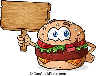 legno, hamburger, cartone animato, segno