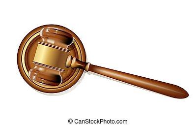 legno, illustrazione, realistico, vettore, white., giustizia, martelletto