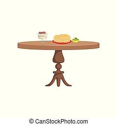 legno, illustrazione, rotondo, cibo, vettore, fondo, tavola, bianco, colazione