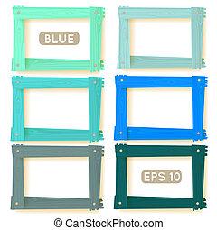 legno, immagine, blu, set, cornici