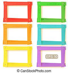 legno, immagine, set, cornici, colorare
