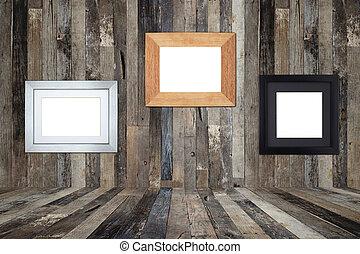 legno, immagine, vecchio, parete, cornici