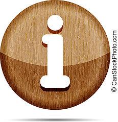 legno, informazioni, lucido, rotondo, icona