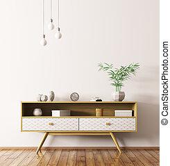 legno, interpretazione, credenza, interno, 3d