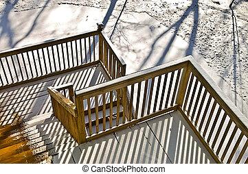 legno, inverno, ponte
