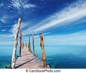 legno, isola, banchina, tropicale