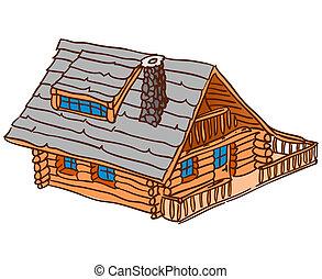 legno, isolato, cabina