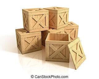 legno, isolato, casse