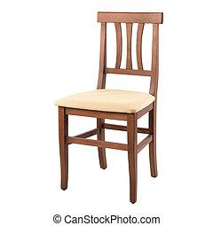 legno, isolato, comodo, fondo, sedia, bianco