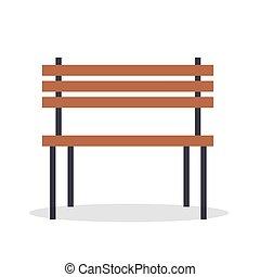legno, isolato, illustrazione, panca, vettore, bianco