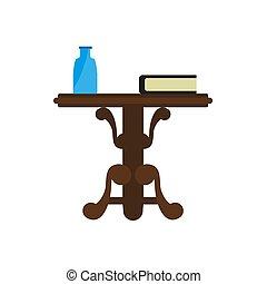 legno, isolato, libro, bottiglia, tavola, bianco, rotondo