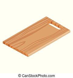 legno, isolato, tagliere, fondo, bianco
