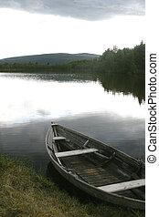 legno, lago, barca