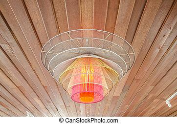 legno, lampada soffitto