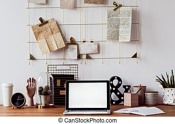 legno, laptop, scrivania