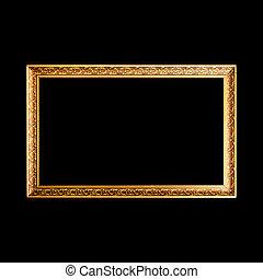 legno, largo, cornice, nero, oro