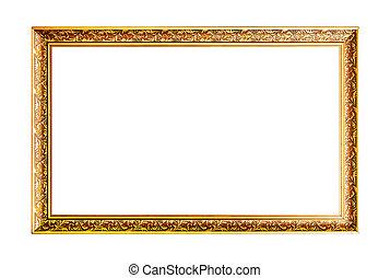 legno, largo, orizzontale, cornice, oro
