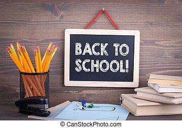 legno, lavagna, school., fondo, indietro