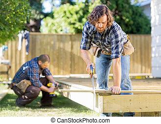 legno, lavoratore, collaboratore, luogo, mentre, taglio, perforazione, sega