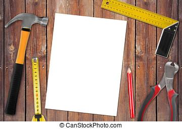 legno, lavoro, fondo, vuoto, attrezzi, pagina