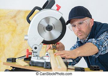 legno, legno, carpentiere, taglio, officina, asse, usando, sega, circolare