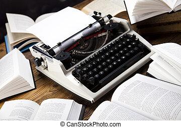 legno, macchina scrivere, vecchio, retro, scrivania