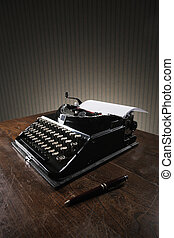 legno, macchina scrivere, vecchio, scrivania