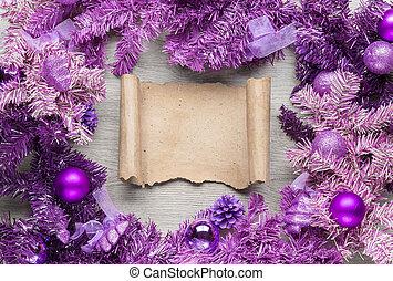 legno, magenta, ghirlanda, pergamena, natale