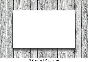 legno, manifesto, parete bianco, appendere, bianco