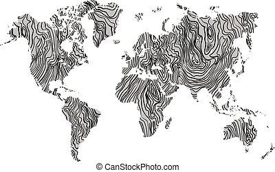 legno, mappa mondo, grigio, struttura, mano, disegnato, nero, su, fondo., vettore