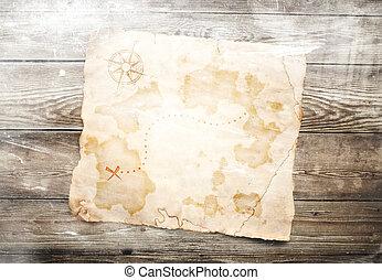 legno, mappa, tesoro, vecchio, fondo