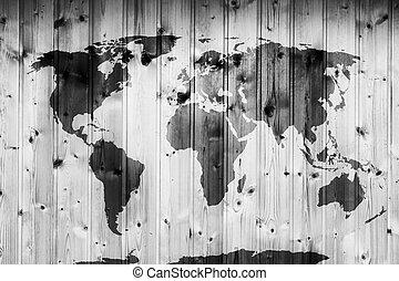 legno, mappa, wall., mondo, vendemmia