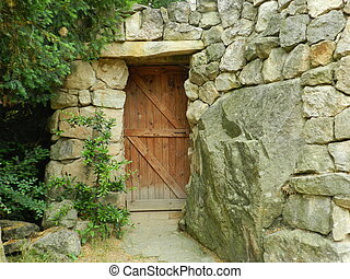 legno, marrone, pietra, porta, parete