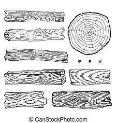 legno, materiale, illustrazione, elements.