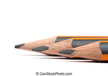 legno, matite, sopra, sfondo bianco