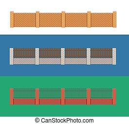 legno, mattone, vettore, illustration., recinto
