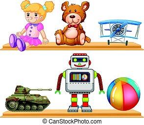 legno, mensola, differente, tipi, giocattoli