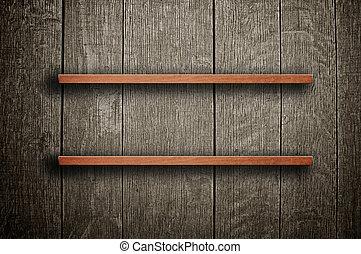 legno, mensola, libro