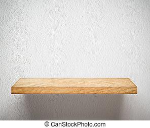 legno, mensola, parete bianca