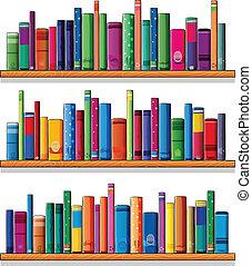 legno, mensole, con, libri