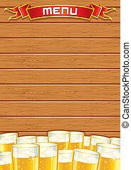 legno, menu., pub, vettore, fondo, vuoto