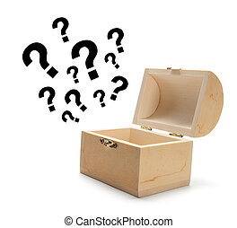 legno, miniatura, scatola tesoro