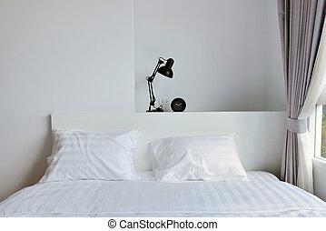 legno, moderno, lampada, nightstand, disegno interno, bianco, camera letto