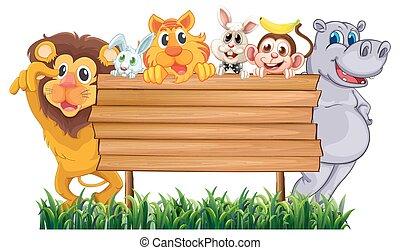 legno, molti, animali, segno