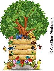 legno, molti, insetto, sagoma, segno