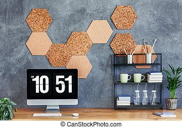 legno, monitor computer, scrivania
