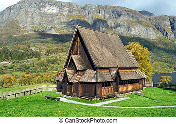 legno, montagne, vecchio, norvegia, stavechurch